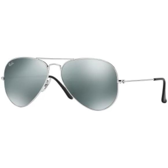 Ray-Ban Av Sunglasses Silver Frame Mirror Lenses